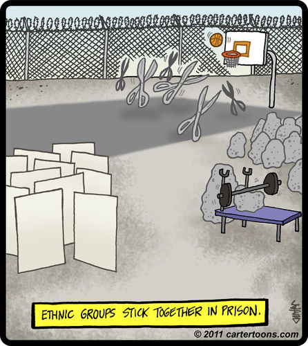 Cartoon: Ethnic Prison (medium) by cartertoons tagged prisoners,prison,jail,ethnic,groups,rock,paper,scissors