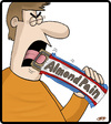 Cartoon: Almond Pain (small) by cartertoons tagged almond,joy,candy,bars,food,eating,consumption,pranks