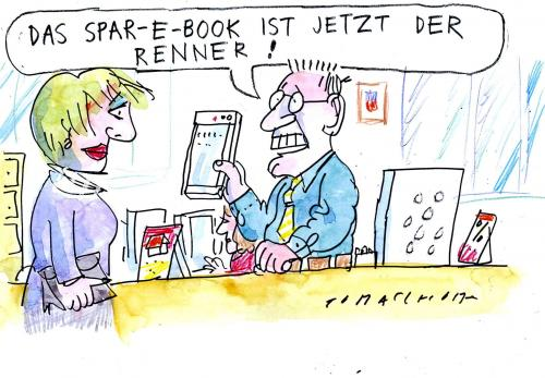Cartoon: E-Book (medium) by Jan Tomaschoff tagged ebook,buch,lesen,literatur,medien,kindle