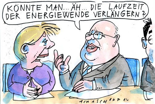 Cartoon: Energiewende (medium) by Jan Tomaschoff tagged energiewende,laufzeit,akw,altmaier,merkel