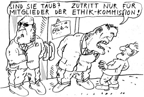 Cartoon: Ethik-Kommision (medium) by Jan Tomaschoff tagged ethikkommission,ethikkommission,ethik