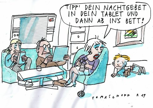 Cartoon: Gebet (medium) by Jan Tomaschoff tagged glaube,moderne,technik,glaube,moderne,technik