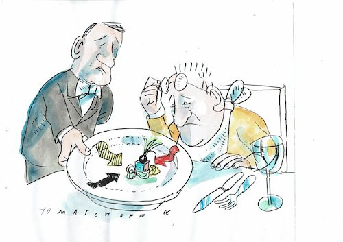 Cartoon: Klein aber fein (medium) by Jan Tomaschoff tagged gastronomie,feinschmecker,gastronomie,feinschmecker