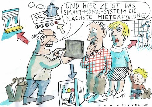 Cartoon: Miete (medium) by Jan Tomaschoff tagged smart,home,wohnen,smart,home,wohnen
