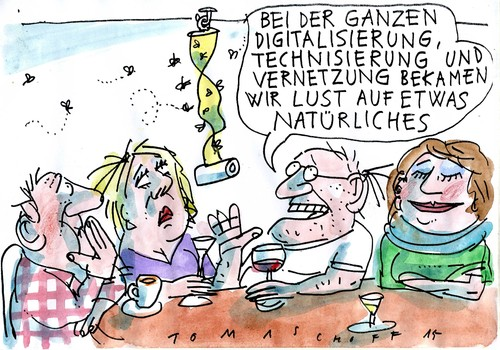 Cartoon: Natur (medium) by Jan Tomaschoff tagged techniküberdruss,natur,techniküberdruss,natur