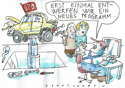 Cartoon: Programm (medium) by Jan Tomaschoff tagged spd,volksparteien,spd,volksparteien