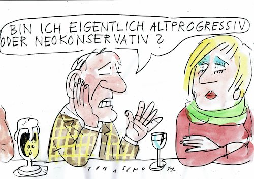 Cartoon: Progressiv (medium) by Jan Tomaschoff tagged links,rechts,konservativ,progressiv,links,rechts,konservativ,progressiv