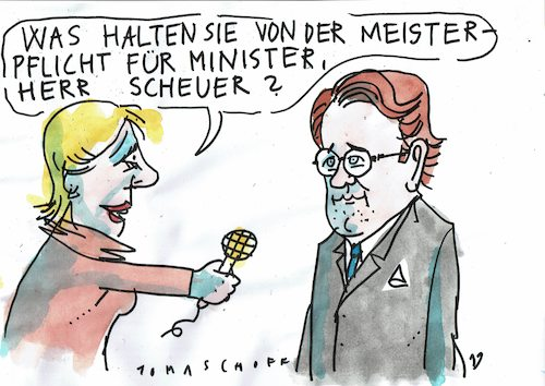 Cartoon: Scheuer (medium) by Jan Tomaschoff tagged verkehr,minister,scheuer,verkehr,minister,scheuer