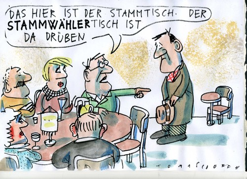 Cartoon: Stammwähler (medium) by Jan Tomaschoff tagged wahlen,volksparteien,wahlen,volksparteien