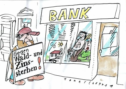 Cartoon: Zinssterben (medium) by Jan Tomaschoff tagged zinsen,banken,wald,zinsen,banken,wald