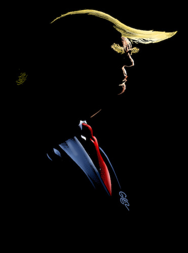 Cartoon: Dark Trump (medium) by Damien Glez tagged dark,donald,trump,united,states,america,dark,donald,trump,united,states,america
