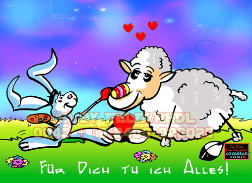 Cartoon: Happy Easter to all members! (medium) by FeliXfromAC tagged felix,alias,reinhard,horst,design,line,aachen,illustration,illustrator,comic,zeichner,comiczeichner,nrw,brettspiel,sympathie,figuren,mascot,cartoon,russland,china,usa,sw,bw,felixfromac,from,ac,coolbär,comix,erotainment,sheep,happy,esater,motiv