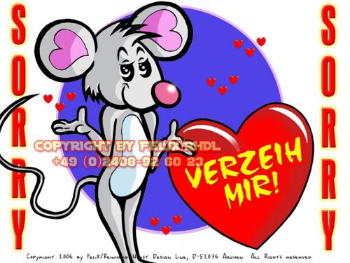 Cartoon: Maus Toon Mobile Services (medium) by FeliXfromAC tagged nice,animals,tiere,tier,logos,sympathiefiguren,mascots,wallpapers,characters,characterdesign,figuren,hey,melde,dich,whimsical,felix,alias,design,line,maus,mouse,red,love,herzen,beziehung,sorry,tut,mir,leid,