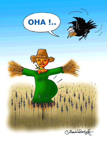 Cartoon: Scarecrow (medium) by halisdokgoz tagged scarecrow,dokgoz