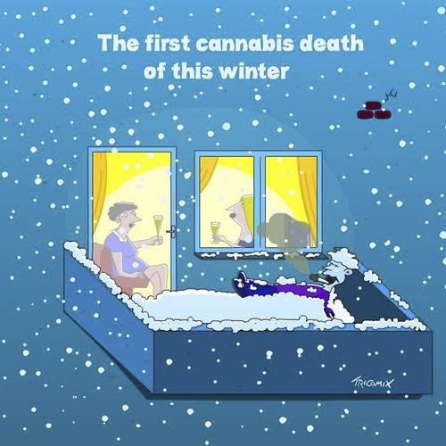 Cartoon: Heartless.... (medium) by Tricomix tagged cannabis,marijuana,hashish,smoking,weed,winter,women,sparkling,balcony,snowfall,death,excluded,drugs