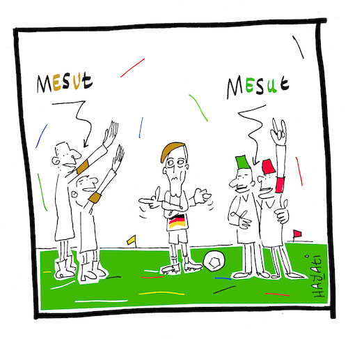 Cartoon: Mesut Özil wehrt sich (medium) by Hayati tagged mesut,oezil,dfb,wm,futbol,fussball,football,sport,rassismus,racism,irkcilik,cartoon,turkey,germany,afd,hayati,boyacioglu,karikatur,mesut,oezil,dfb,wm,futbol,fussball,football,sport,rassismus,racism,irkcilik,cartoon,turkey,germany,afd,hayati,boyacioglu,karikatur