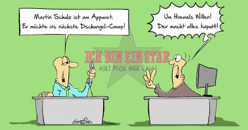 Cartoon: Dschungelcamp (medium) by Marcus Gottfried tagged dschungelcamp,rtl,tv,fernsehen,sendung,unterhaltung,promi,prominent,martin,schulz,spd,vorsitzender,groko,koalitionsverhandlungen,marcus,gottfried,cartoon,karikatur,dschungelcamp,rtl,tv,fernsehen,sendung,unterhaltung,promi,prominent,martin,schulz,spd,vorsitzender,groko,koalitionsverhandlungen,marcus,gottfried,cartoon,karikatur