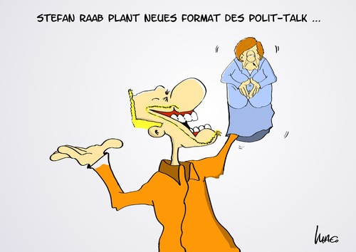 Cartoon: neues Format (medium) by Marcus Gottfried tagged politik,polittalk,talksendung,talkrunde,gäste,bildung,tv,prosieben,stafan,raab,entertainment,merkel,puppe,kasper,theater,form