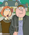 Cartoon: family guy- american gothic (small) by matan_kohn tagged family,guy,american,gothic,seth,macfarlane,lois,griffin,peter,matan,kohn,funny,art