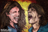 Cartoon: steven tyler and mick jagger (small) by matan_kohn tagged steven,tyler,mick,jagger,matan,kohn,rolling,stones,scream,music,loud,exploding,funny