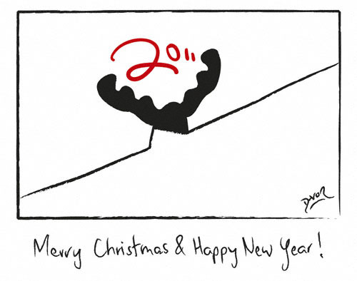 Cartoon: Merry Christmas Happy New Year (medium) by Davor tagged 2011,elk,elch,boden,wand,loch,maus,floor,room,wall,hole,mouse