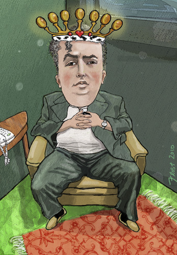 Cartoon: Yefim Bronfman (medium) by frostyhut tagged royal,king,crown,heart,russian,music,classical,pianist,bronfman