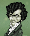 Cartoon: Ferdinand Ries in Love (small) by frostyhut tagged ries,composer,classical,hearts,music,eyebrows,ferdinand,curly,monobrow,green,cravat,german