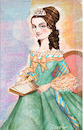 Cartoon: Young Clara Schumann (small) by frostyhut tagged woman,composer,music,classical,piano,sheetmusic,19thcentury,dress,ringlets,tiara,queen,princess,portrait,girl