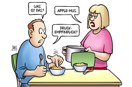 Cartoon: Apple druckempfindlich (medium) by Harm Bengen tagged apfelmus,essen,apple,mus,it,computer,internet,smartphone,druckempfindlich,finger,harm,bengen,cartoon,karikatur,apfelmus,essen,apple,mus,it,computer,internet,smartphone,druckempfindlich,finger,harm,bengen,cartoon,karikatur
