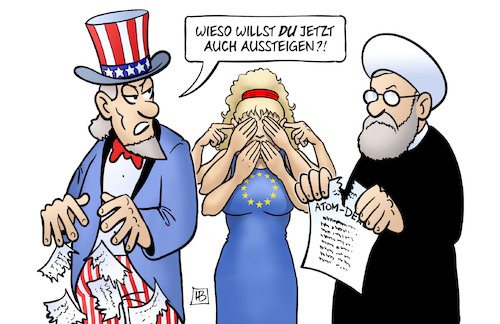Cartoon: Atomabkommen Iran (medium) by Harm Bengen tagged atomabkommen,deal,iran,usa,aussteigen,rohani,uncle,sam,europa,affen,harm,bengen,cartoon,karikatur,atomabkommen,deal,iran,usa,aussteigen,rohani,uncle,sam,europa,affen,harm,bengen,cartoon,karikatur