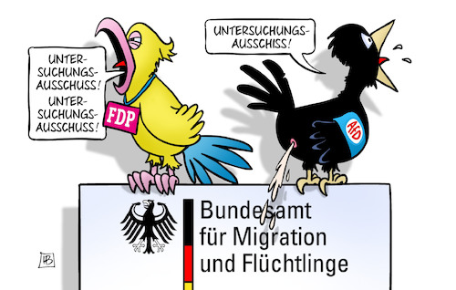 Cartoon: BAMF-U-Ausschuss (medium) by Harm Bengen tagged bamf,untersuchungsausschuss,bundestag,fdp,afd,vogelschiss,migration,flüchtlinge,papagei,harm,bengen,cartoon,karikatur,bamf,untersuchungsausschuss,bundestag,fdp,afd,vogelschiss,migration,flüchtlinge,papagei,harm,bengen,cartoon,karikatur