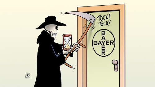 Cartoon: Bayer-Tod (medium) by Harm Bengen tagged bayer,monsanto,tod,prozess,gericht,usa,klage,krebs,schadensersatz,harm,bengen,cartoon,karikatur,bayer,monsanto,tod,prozess,gericht,usa,klage,krebs,schadensersatz,harm,bengen,cartoon,karikatur