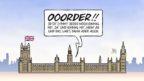Cartoon: Brexit  III (medium) by Harm Bengen tagged order,speaker,parlament,westminster,london,brexit,uk,gb,europa,eu,austritt,chaos,abstimmung,harm,bengen,cartoon,karikatur,order,speaker,parlament,westminster,london,brexit,uk,gb,europa,eu,austritt,chaos,abstimmung,harm,bengen,cartoon,karikatur