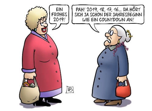 Cartoon: Countdown 2019 (medium) by Harm Bengen tagged 2019,jahresbeginn,countdown,silvester,susemil,harm,bengen,cartoon,karikatur,2019,jahresbeginn,countdown,silvester,susemil,harm,bengen,cartoon,karikatur