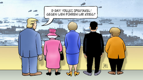 Cartoon: D-Day (medium) by Harm Bengen tagged day,spektakel,krieg,zweiter,weltkrieg,invasion,normandie,trump,queen,may,macron,merkel,feiern,jahrestag,harm,bengen,cartoon,karikatur,day,spektakel,krieg,zweiter,weltkrieg,invasion,normandie,trump,queen,may,macron,merkel,feiern,jahrestag,harm,bengen,cartoon,karikatur