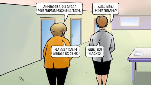 Cartoon: Eh der Spahn das macht (medium) by Harm Bengen tagged annegret,verteidigungsministerin,akk,kramp,karrenbauer,merkel,jens,spahn,cdu,flur,harm,bengen,cartoon,karikatur,annegret,verteidigungsministerin,akk,kramp,karrenbauer,merkel,jens,spahn,cdu,flur,harm,bengen,cartoon,karikatur