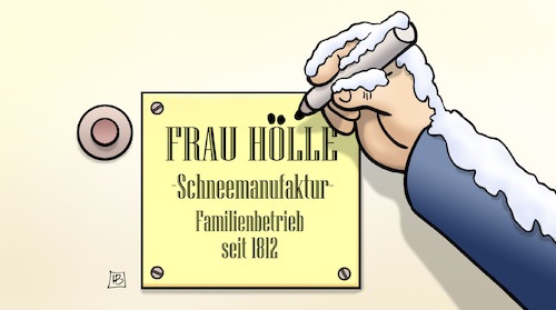 Cartoon: Frau Hölle (medium) by Harm Bengen tagged frau,holle,hölle,schneemanufaktur,winter,edding,klingel,tuerschild,harm,bengen,cartoon,karikatur,frau,holle,hölle,schneemanufaktur,winter,edding,klingel,tuerschild,harm,bengen,cartoon,karikatur