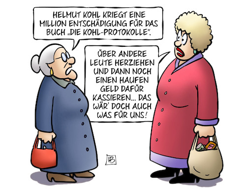 Cartoon: Kohl-Entschädigung (medium) by Harm Bengen tagged helmut,kohl,million,buch,entschädigung,protokolle,schwan,prozess,klatsch,susemil,harm,bengen,cartoon,karikatur,helmut,kohl,million,buch,entschädigung,protokolle,schwan,prozess,klatsch,susemil,harm,bengen,cartoon,karikatur