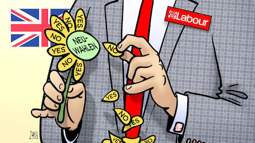 Cartoon: Labour für Neuwahlen (medium) by Harm Bengen tagged neuwahlen,labour,party,corbyn,yes,no,blume,brexit,abstimmung,unterhaus,uk,gb,harm,bengen,cartoon,karikatur,neuwahlen,labour,party,corbyn,yes,no,blume,brexit,abstimmung,unterhaus,uk,gb,harm,bengen,cartoon,karikatur