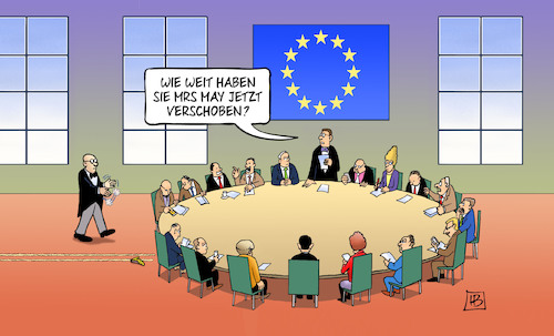 Cartoon: May-Verschiebung (medium) by Harm Bengen tagged may,verschiebung,brexit,europa,gb,uk,gipfel,harm,bengen,cartoon,karikatur,may,verschiebung,brexit,europa,gb,uk,gipfel,harm,bengen,cartoon,karikatur