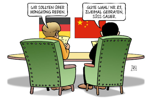 Cartoon: Merkel und Hongkong (medium) by Harm Bengen tagged hongkong,proteste,demokratiebewegung,reden,staatsbesuch,china,xi,speisekarte,essen,harm,bengen,cartoon,karikatur,hongkong,proteste,demokratiebewegung,reden,staatsbesuch,china,xi,speisekarte,essen,harm,bengen,cartoon,karikatur