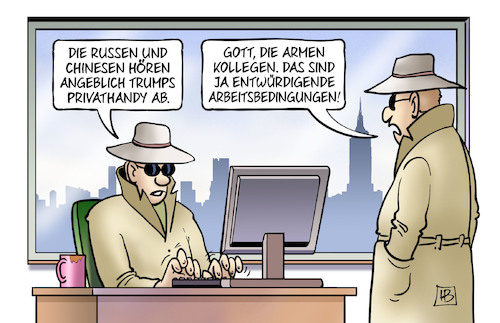 Cartoon: Privathandy (medium) by Harm Bengen tagged russen,chinesen,russland,china,usa,trump,privathandy,abhören,kollegen,entwürdigende,arbeitsbedingungen,spione,agenten,geheimdienste,harm,bengen,cartoon,karikatur,russen,chinesen,russland,china,usa,trump,privathandy,abhören,kollegen,entwürdigende,arbeitsbedingungen,spione,agenten,geheimdienste,harm,bengen,cartoon,karikatur