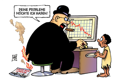 Cartoon: Probleme (medium) by Harm Bengen tagged börse,börsenkurse,polizei,rebellion,randale,krawalle,brand,feuer,london,postkarte,zigarre,flüchtlinge,computer,kenia,somalia,ostafrika,hunger,finanzen,finanzmarkt,finanzmärkte,turbulenzen,crash,absturz,verlust,krise,wirtschaftskrise,ezb,banken,euro,dollar,rettungsschirm,spekulation,iwf,g7,rating,europa,usa,eurostoxx,dowjones,nasdaq,hunger,ostafrika,afrika,kenia,somalia,computer,flüchtlinge,zigarre,postkarte,london,brand,krawalle,polizei,börsenkurse,börse