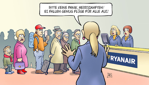 Cartoon: Ryanair-Streiks (medium) by Harm Bengen tagged ryanair,streiks,flugausfälle,passagiere,kabinenpersonal,billigfluggesellschaft,checkin,flughafen,airport,harm,bengen,cartoon,karikatur,ryanair,streiks,flugausfälle,passagiere,kabinenpersonal,billigfluggesellschaft,checkin,flughafen,airport,harm,bengen,cartoon,karikatur