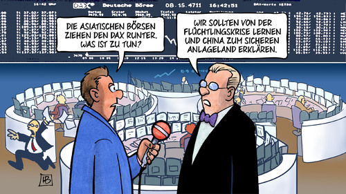 Cartoon: Sicheres Anlageland (medium) by Harm Bengen tagged fluechtlingskrise,fluechtlinge,asyl,lernen,sicheres,herkunftsland,anlageland,interview,china,wirtschaft,dax,griechen,chinesen,aktien,boerse,krise,harm,bengen,cartoon,karikatur,fluechtlingskrise,fluechtlinge,asyl,lernen,sicheres,herkunftsland,anlageland,interview,china,wirtschaft,dax,griechen,chinesen,aktien,boerse,krise,harm,bengen,cartoon,karikatur