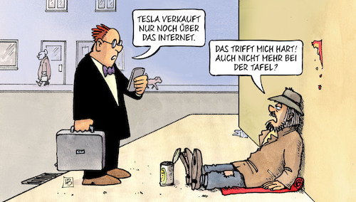 Cartoon: Tesla-Verkauf (medium) by Harm Bengen tagged tesla,elektroautos,verkauf,laden,internet,tafel,armut,soziales,bettler,handy,harm,bengen,cartoon,karikatur,tesla,elektroautos,verkauf,laden,internet,tafel,armut,soziales,bettler,handy,harm,bengen,cartoon,karikatur