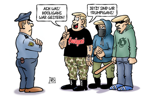 Cartoon: Trumpigans (medium) by Harm Bengen tagged hooligans,nazis,rechts,polizei,trumpigans,em,europameisterschaft,fussball,patriotismus,nationalismus,harm,bengen,cartoon,karikatur,hooligans,nazis,rechts,polizei,trumpigans,em,europameisterschaft,fussball,patriotismus,nationalismus,harm,bengen,cartoon,karikatur