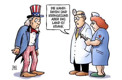 Cartoon: USA krank (medium) by Harm Bengen tagged kandidaten,kerngesund,land,uncle,sam,präsidentschaftswahlen,clinton,trump,usa,krank,arzt,krankenschwester,harm,bengen,cartoon,karikatur,kandidaten,kerngesund,land,uncle,sam,präsidentschaftswahlen,clinton,trump,usa,krank,arzt,krankenschwester,harm,bengen,cartoon,karikatur