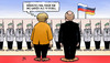 Cartoon: Merkel-Putin-Duell (small) by Harm Bengen tagged tv,duell,putin,besuch,berlin,kanzleramt,merkel,normandieformat,ukraine,soldaten,bundeswehr,staatsempfang,harm,bengen,cartoon,karikatur