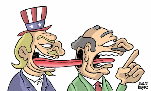 Cartoon: American dialect speakers!.. (medium) by Murat tagged politician,author,america